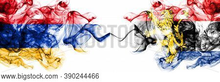 Armenia Vs Benelux Smoky Mystic Flags Placed Side By Side. Thick Colored Silky Abstract Smoke Flags