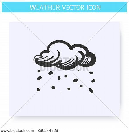 Scattered Snow Icon. Hand Drawn Sketch. Blizzard. Snowy Weather. Falling Snowflakes. Winter Weather.