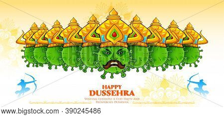 Illustration Of Covid Ravana With Ten Heads Of Corona Virus For Navratri Festival Of India Poster Fo