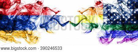 Armenia Vs United States Of America, America, Us, Usa, American, Gay  Smoky Mystic Flags Placed Side