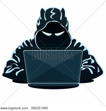 Mysterious Hacker In Hoodie With Laptop On White Background. Hacking The Internet. Cyber Crime. Vect