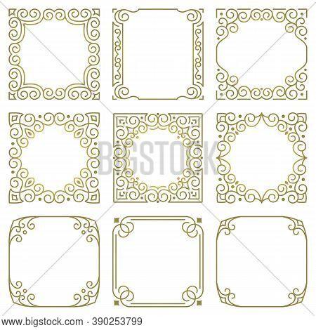 Set Of Vector Square Gold Frames, Modern Linear Oriental Ornaments. Elegant Ornate Pattern For The D