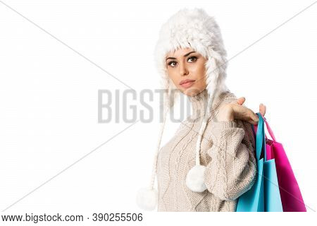 Happy Woman Holding Shopping Bags With Copyspace, Isolated On White Background Winter Sales.