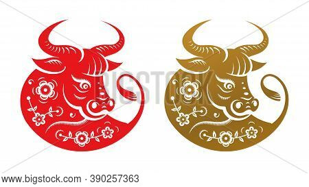 Golden Metal Ox Zodiac Sign, Head With Flowers Isolated Icons. Vector Cny Chinese New Year Symbol, T