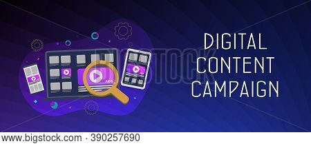 Creative Concept Of Digital Content Campaign Horizontal Banner. Online Media Marketing, Advertising