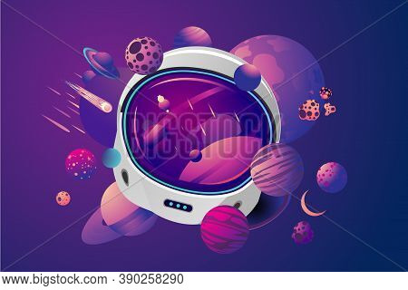 Space Helmet On Isolated Background With Planet. Astronaut Spacesuit With Space On Reflection. Pilot