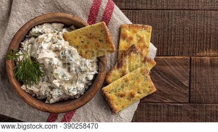 Bowl Of Jalapeno Dip With Crackers.  Overhead View With Copy Space