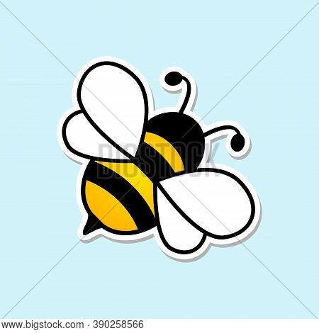 Cute Bee Flat Icon. Sticker Cartoon Bee. Vector Isolated On Blue Background.