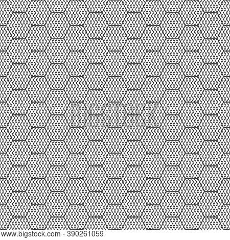 Seamless Pattern. Modern Stylish Geometrical Texture. Regularly Repeating Striped Hexagons, Rhombus,