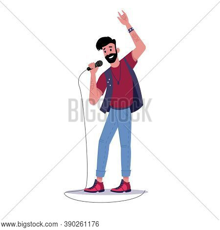 Rock Soloist Singing Into Microphone Isolated Bearded Man Singer. Vector Solo Musician Sing Songs, P