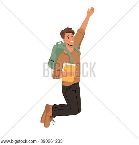 Dark Haired Man Student Merrily Leaps Or Jumps With Fists Up, Passed Exams Successfully. Vector Man