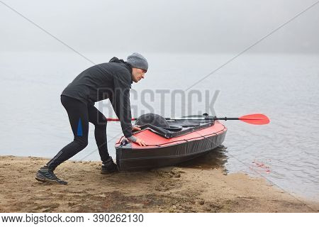 Lonely Man Going Paddling On Kayak In Early Foggy Morning, Sports Man Being Fond Of Water Sport, Guy