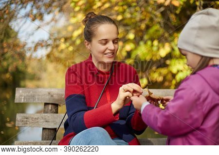 Daughter With Her Mommy Collect Autumn Leaves, Spending Free Time Together, Making Boat From Yellow