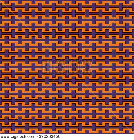 Seamless Pattern In Halloween Traditional Colors. Battlement Curved Lines Abstract Background. Vecto