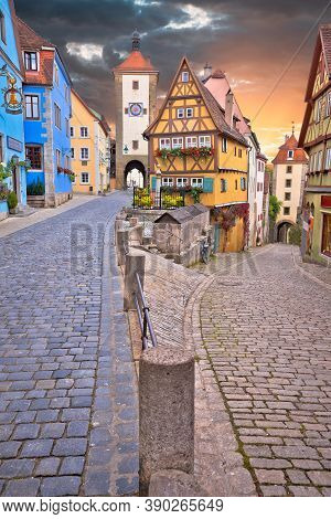 Rothenburg Ob Der Tauber Famous Landmark. Cobbled Street And Architecture Of Historic Town Of Rothen