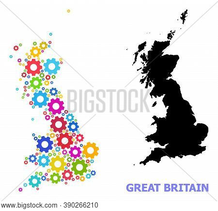 Vector Mosaic Map Of Great Britain Designed For Workshops. Mosaic Map Of Great Britain Is Designed W