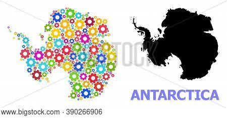 Vector Mosaic Map Of Antarctica Done For Engineering. Mosaic Map Of Antarctica Is Constructed Of Ran