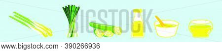 Set Of Lemongrass Cartoon Icon Design Template With Various Models. Vector Illustration Isolated On