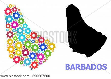 Vector Mosaic Map Of Barbados Done For Mechanics. Mosaic Map Of Barbados Is Designed From Randomized