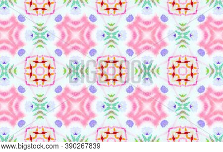 Seamless Watercolor Tile Print. Artistic Painted Ornament. Colorful And White Color. Tie Dye Bohemia