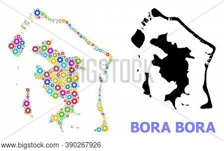 Vector Mosaic Map Of Bora-bora Combined For Engineering. Mosaic Map Of Bora-bora Is Created With Sca