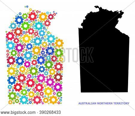 Vector Composition Map Of Australian Northern Territory Organized For Engineering. Mosaic Map Of Aus