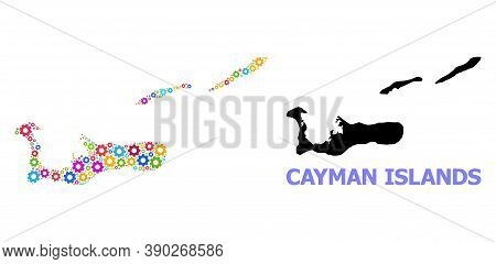 Vector Collage Map Of Cayman Islands Designed For Engineering. Mosaic Map Of Cayman Islands Is Compo
