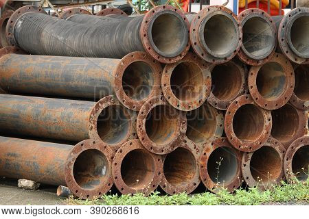 Pile Of Industry Drainage Pipe Old And Rusty