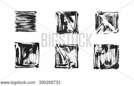 Ink Painted Grunge Dirty Square Frame Set. Isolated Quadrate Shape Illustration, Black Texture Brush