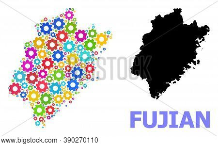 Vector Composition Map Of Fujian Province Constructed For Engineering. Mosaic Map Of Fujian Province