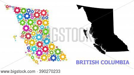 Vector Mosaic Map Of British Columbia Province Organized For Engineering. Mosaic Map Of British Colu
