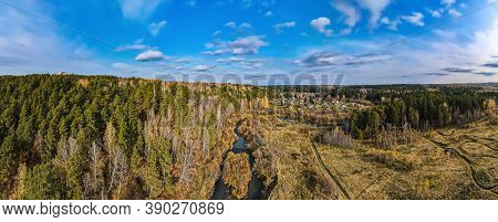 180 Panorama With A Forest And A River In The Vicinity Of Tomsk On An Autumn Day Frome Drone