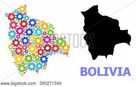 Vector Mosaic Map Of Bolivia Organized For Services. Mosaic Map Of Bolivia Is Made Of Randomized Bri
