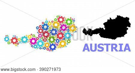 Vector Composition Map Of Austria Combined For Engineering. Mosaic Map Of Austria Is Done Of Randomi