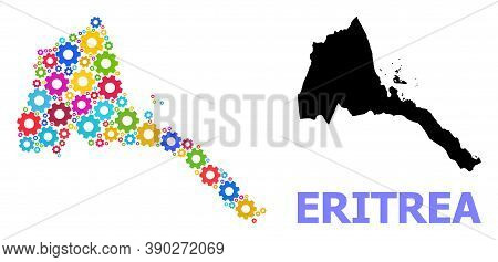 Vector Collage Map Of Eritrea Created For Engineering. Mosaic Map Of Eritrea Is Composed From Random