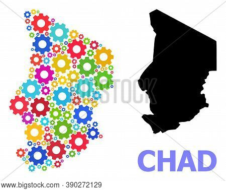 Vector Mosaic Map Of Chad Organized For Engineering. Mosaic Map Of Chad Is Designed With Random Brig