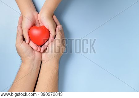 Adult And Child Hands Holding Red Heart Isolated On White Background, Health Care, Love And Family I
