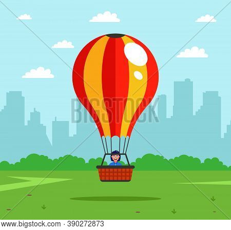 The Attraction Will Rise Into The Air In A Hot Air Balloon. A Joyful Aeronaut Rises Into The Sky. Fl