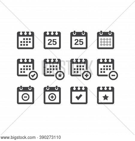 Calendar Black Vector Icon Set. Calender With Date, Star, Plus And Minus Sign Glyph Icons.