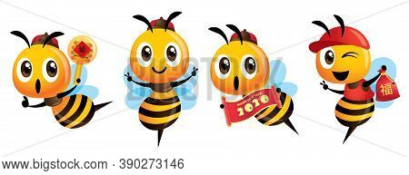 Chinese New Year Bee Set. Cartoon Cute Bee Holding Couplet Scroll Sign, Holding A Honey Dipper, Luck