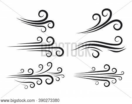 Wind Blow Icon Set. Windy Weather Swirl Vector Shape. Silhouette Of Speed Blowing Air Isolated On Wh