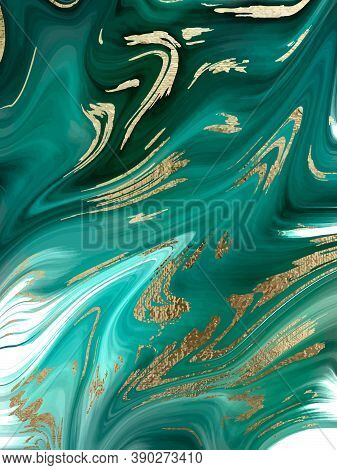 Green Marble And Gold Abstract Background Texture. Abstract Marbling With Natural Luxury Style Lines