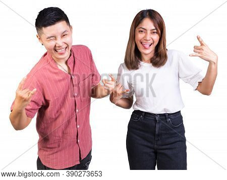 Woman And Tomboy Happy Couple Dance Together Against On White Background