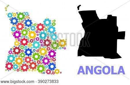 Vector Collage Map Of Angola Created For Industrial Apps. Mosaic Map Of Angola Is Formed From Scatte
