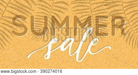 Vector Summer Sale Banner Design With Realistic Shadows Of Palm Leaves On Sand Background. Illustrat