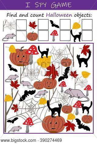 I Spy Halloween Objects - Educational Game For Kids. Math Worksheet For Kindergarten, School, Presch