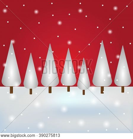 Christmas Snowy Forest With Red Sky. Postcard For The Holiday, Vector Illustration.