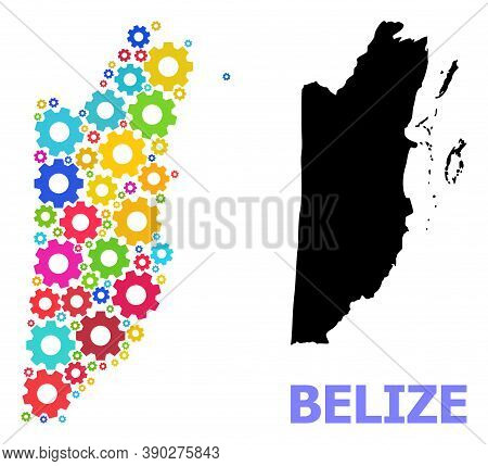Vector Mosaic Map Of Belize Combined For Engineering. Mosaic Map Of Belize Is Done With Randomized B