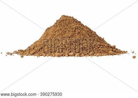 Heap Of Cacao Powder Isolated On White Background.  Dark Cacao Powder Isolated Over  White Backgroun