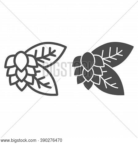 Leaves And Hops Line And Solid Icon, Craft Beer Concept, Beer Hop Sign On White Background, Hops Pla